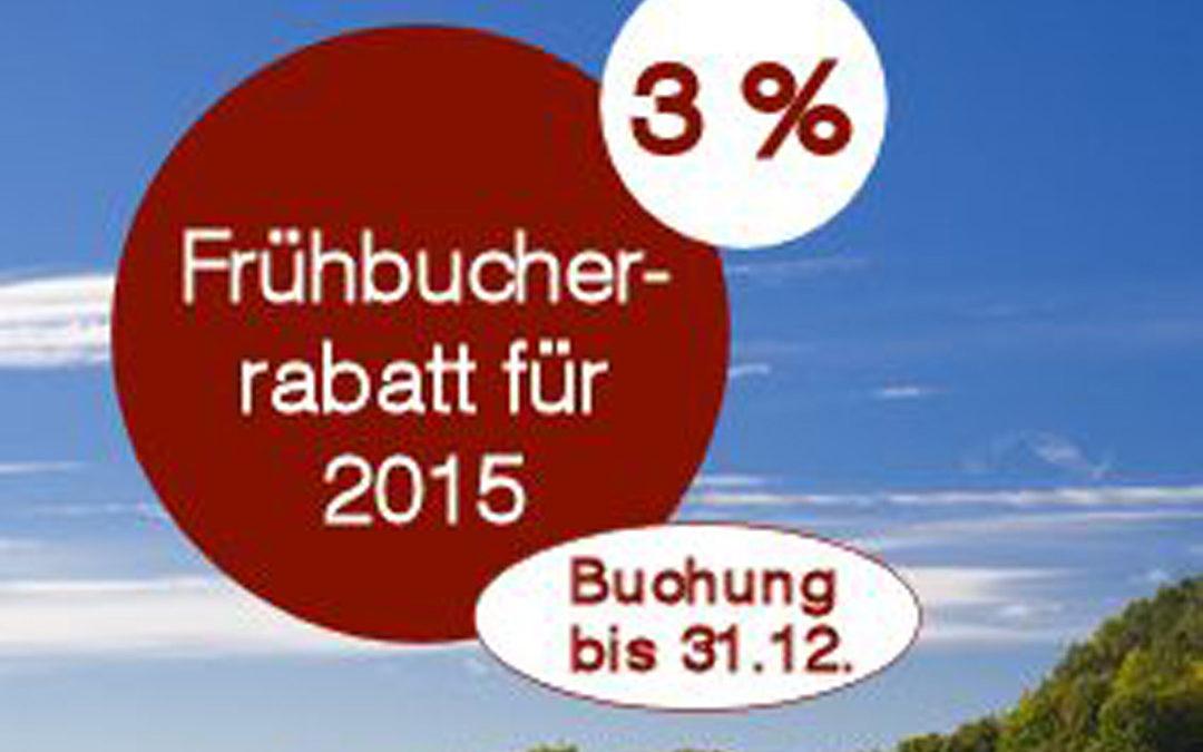 Erinnerung: Frühbucherrabatt für Reisen 2015