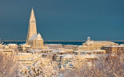Verschneites Reykjavik