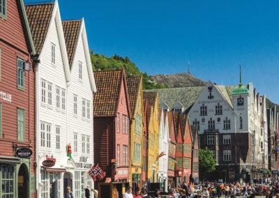 Das Viertel Bryggen in der Hansestadt Bergen