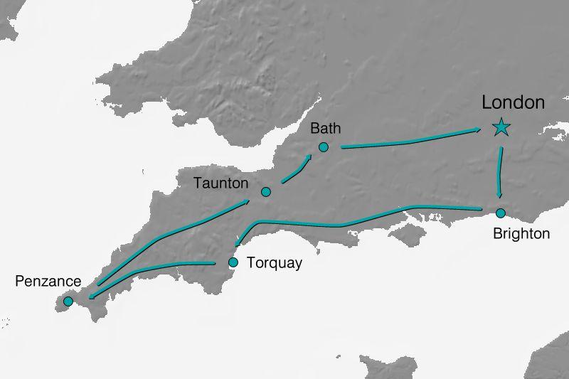 Karte Reiseverlauf - Bezauberndes Südengland