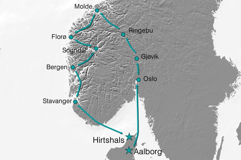 Karte Reisverlauf Das Beste von Norwegen