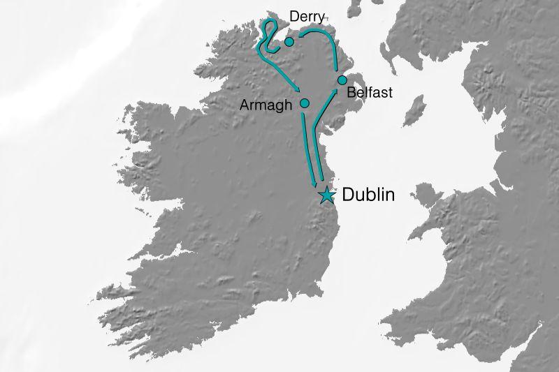 Karte Reiseverlauf Exclusiv Irland - Der Ruf des Nordens