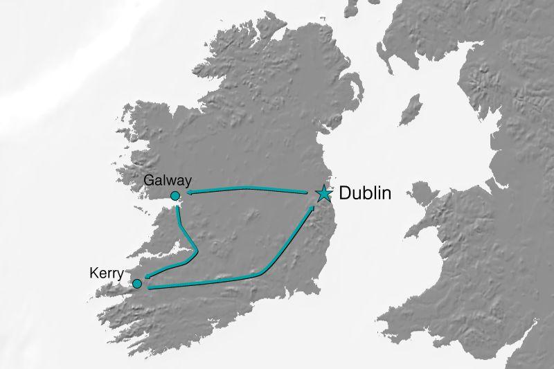 Karte Reiseverlauf Irland - Land, Leben und Leute