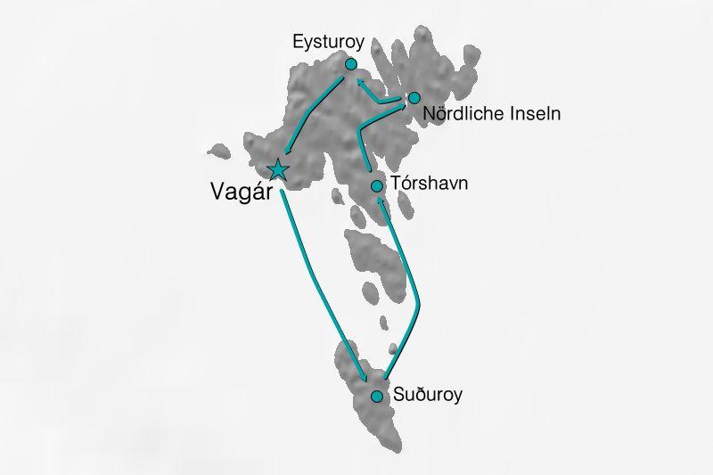 Karte Reiseverlauf Das Beste der Färöer Inseln