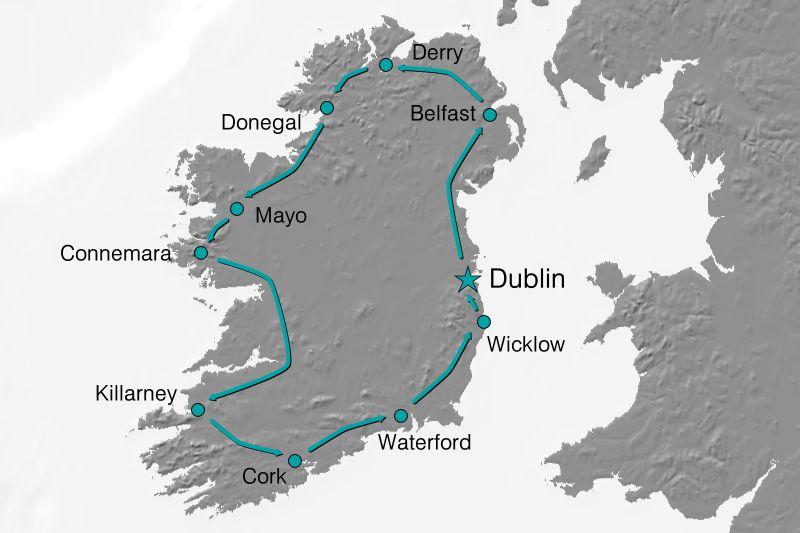 Karte Reiseverlauf - Das Beste Irlands