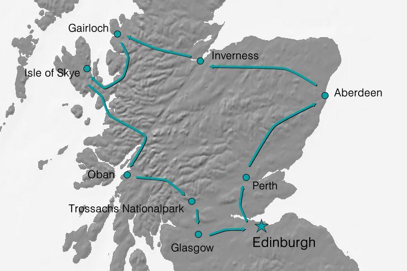 Karte Reiseverlauf - Das Beste Schottlands