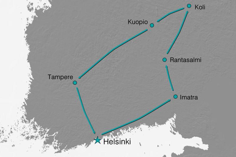 Karte Reiseverlauf - Die Seen Finnlands
