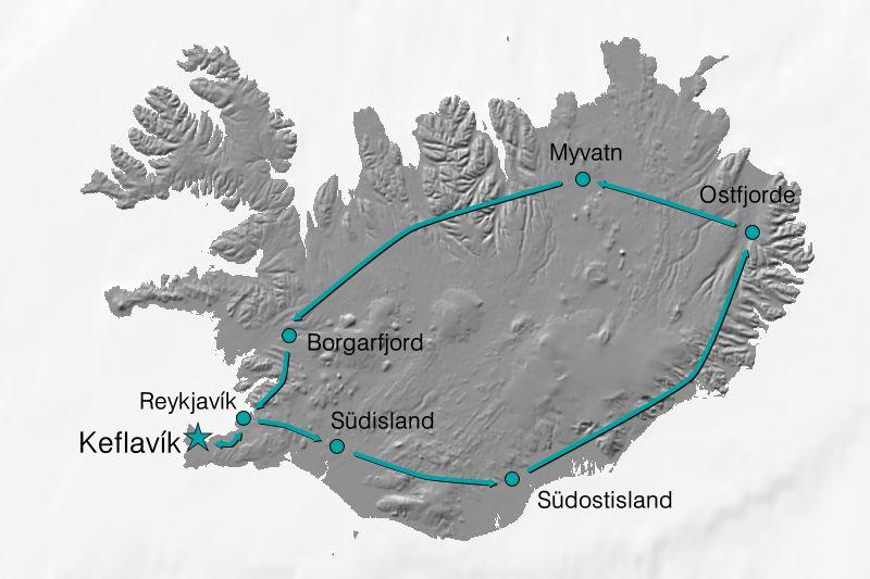 Karte Reiseverlauf Island - Entlang der Ringstraße