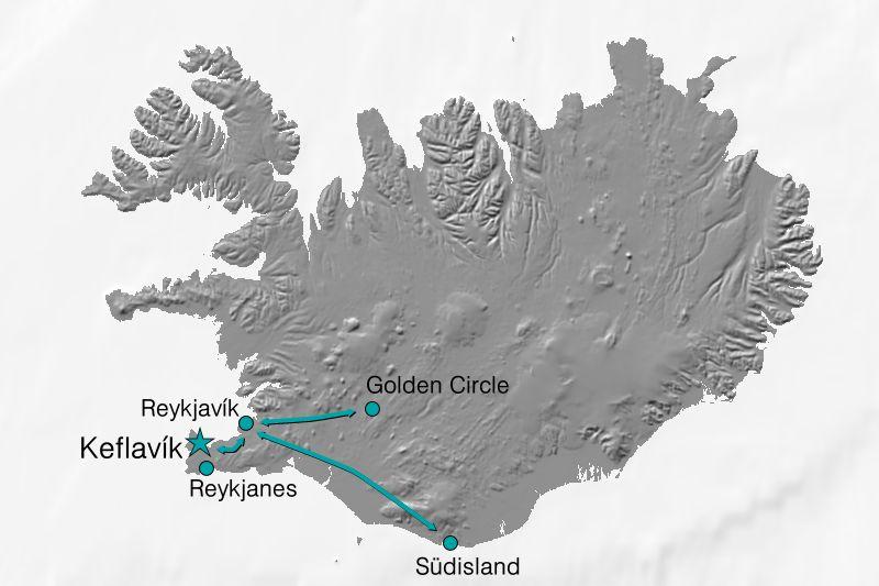 Karte Reiseverlauf Island - Reykjavik zur Nordlichterzeit