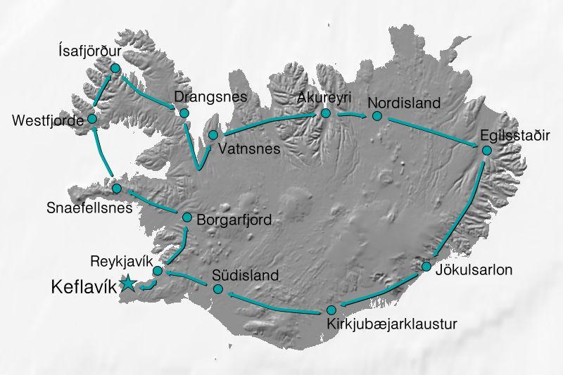 Karte Reiseverlauf Große Island-Umrundung