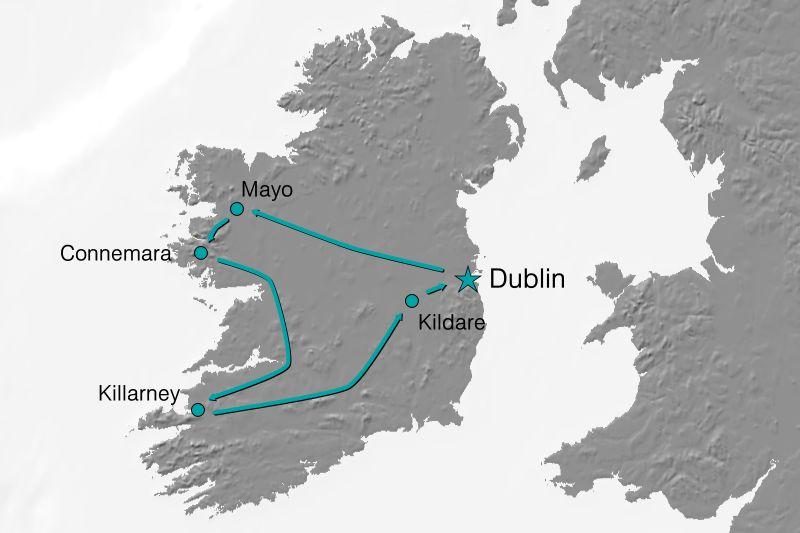 Karte Reiseverlauf - Irland beschnuppern