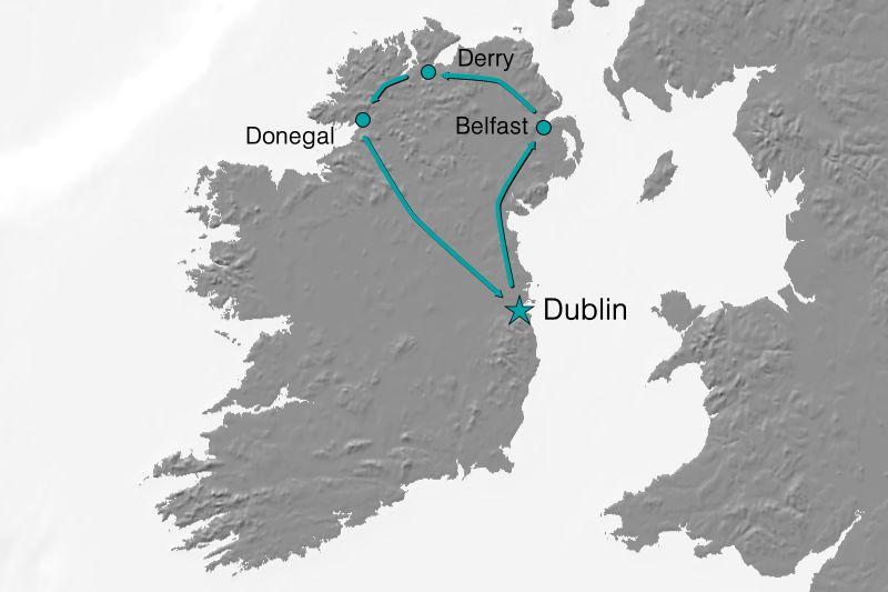Karte Reiseverlauf Irland - Der Ruf des Nordens