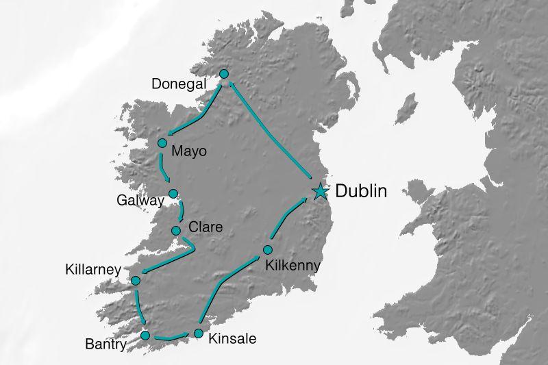 Karte Reiseverlauf - Irlands wilde Küste