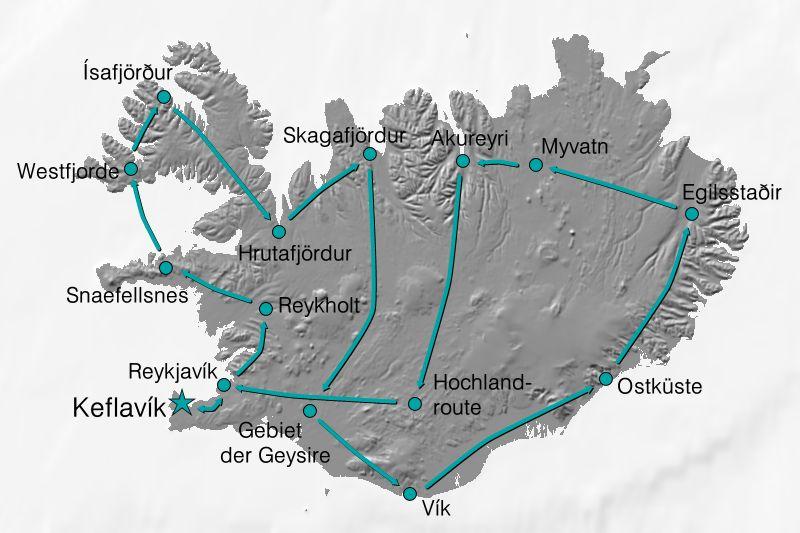 Karte Reiseverlauf Island Panorama