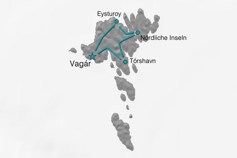 Karte Reiseverlauf Klassische Färöer