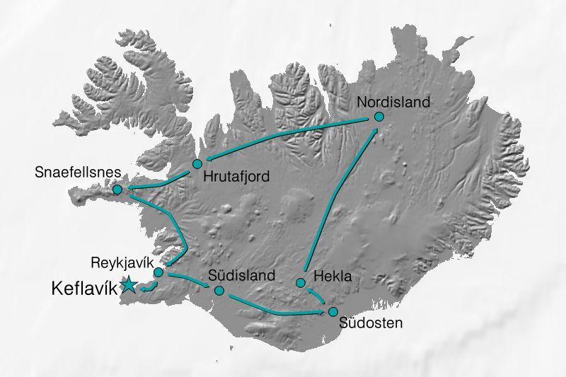 Karte Reiseverlauf Island - Kräftespiel der Elemente