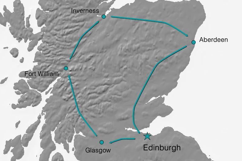 Karte Reiseverlauf Schottland - Land, Leben und Leute
