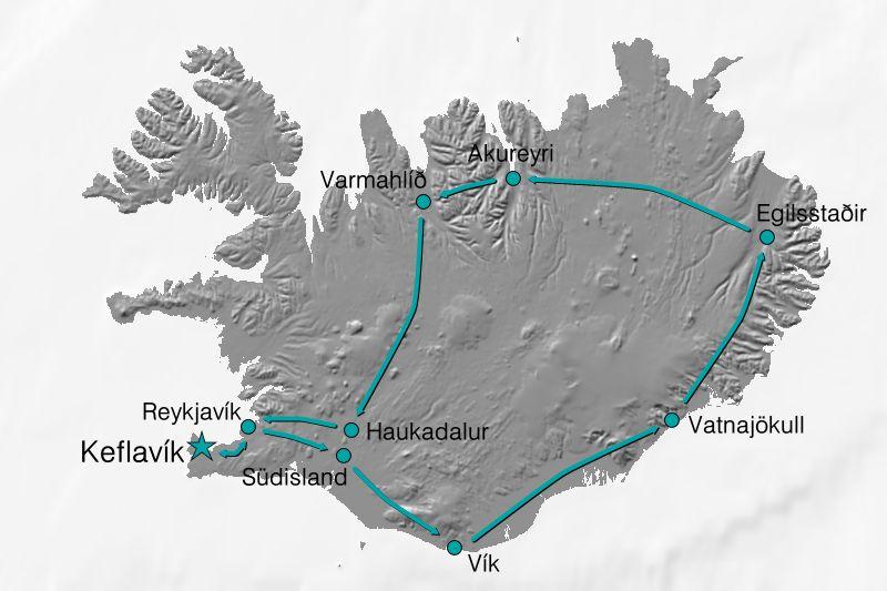 Karte Reiseverlauf Naturwunder Islands
