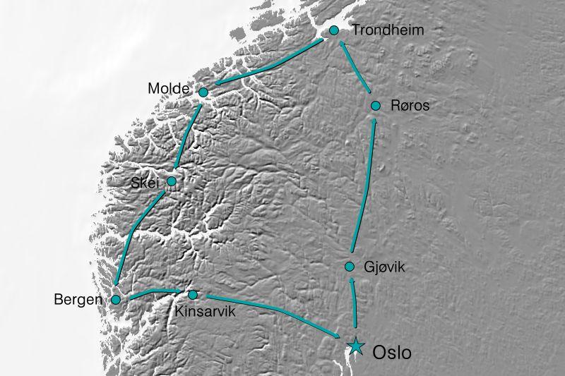 Karte Reiseverlauf Norwegen - Schönes Land
