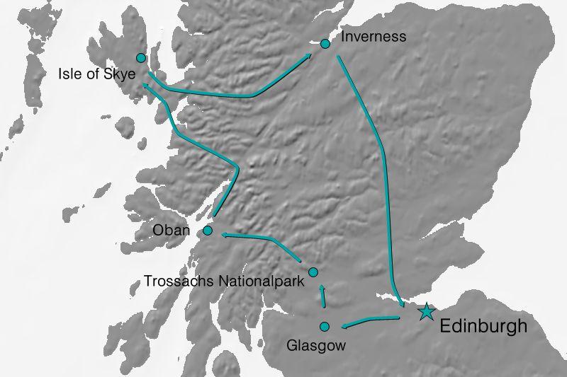 Karte Reiseverlauf - Schottischer Zauber