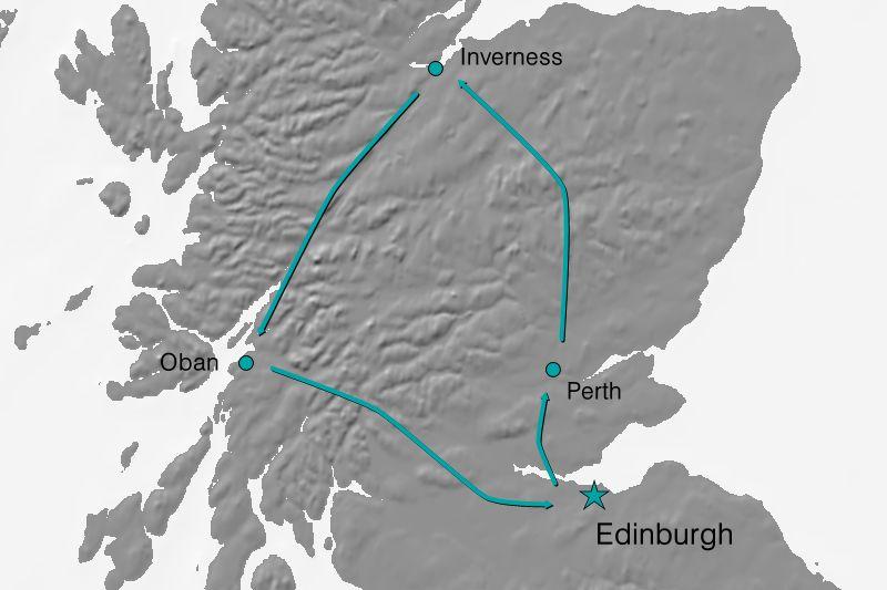 Karte Reiseverlauf - Schottland beschnuppern