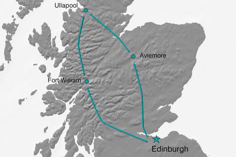 Karte Reiseverlauf - Schottland zu Fuß