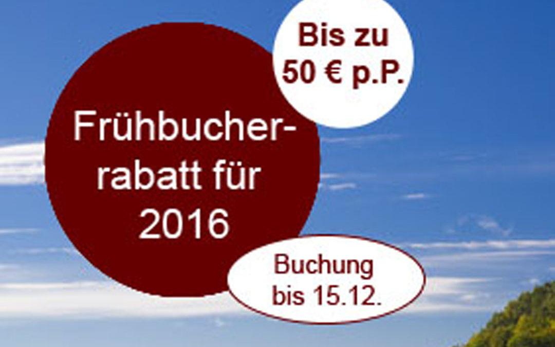 Erinnerung: Frühbucherrabatt für Reisen 2016