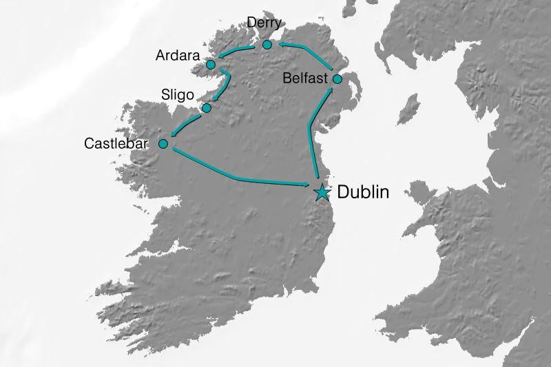Karte Reiseverlauf - Nordirland entdecken