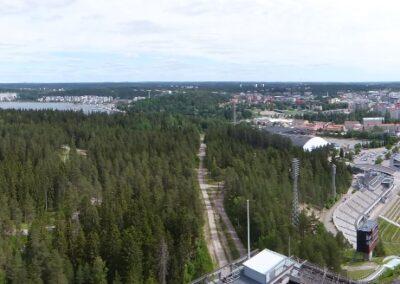 Ausblick von den Skisprungschanzen in Lahti