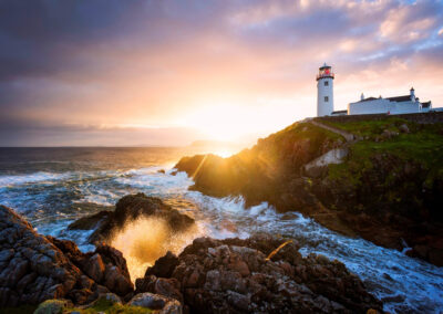 Sonnenuntergang am Fanad Leuchtturm, County Donegal